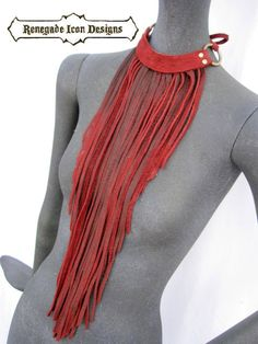 leather fringe necklace fringe bib long fringe by Renegadeicon