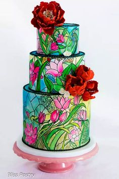 """Pink Wedding Cakes - Still looking for an unique wedding-cake? If your answer """"yes"""", we have some incredible ideas for such non-usual wedding cakes as stained-glass cakes. Deco Wedding Cake, Unique Wedding Cakes, Unique Cakes, Beautiful Wedding Cakes, Gorgeous Cakes, Pretty Cakes, Creative Cakes, Amazing Cakes, Party Wedding"""