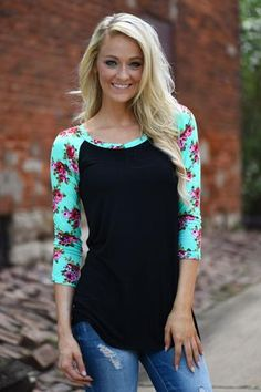 Mint Floral 3/4 Sleeve Top
