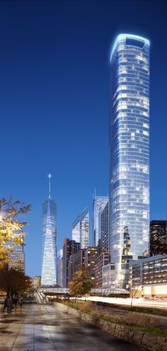 50 West Street Tower (new design), New York City designed by Jahn Architects :: 64 floors,  height 237m :: under construction