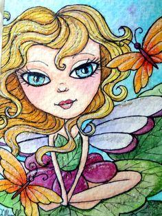 ORIGINAL ACEO Fairy Watercolor Painting - Butterscotch Butterflies - Fairy Art