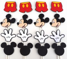 Items similar to Mickey Mouse Clubhouse 12 Themed Cupcake Toppers Party Birthday Decoration on Etsy Cupcake Mickey, Mickey E Minnie Mouse, Theme Mickey, Fiesta Mickey Mouse, Mickey Party, Mickey Mouse Clubhouse Birthday Party, Mickey Mouse Birthday, Birthday Parties, 2nd Birthday