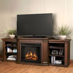 Real Flame Valmont Chestnut Oak Entertainment Center Electric 75.5-inch Fireplace   Overstock.com Shopping - The Best Deals on Indoor Fireplaces