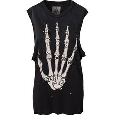 Unif Skull Hand Top (1.165 ARS) ❤ liked on Polyvore featuring tops, shirts, tank tops, tanks, black, skull tank, graphic shirts, black singlet, black tank and black shirt