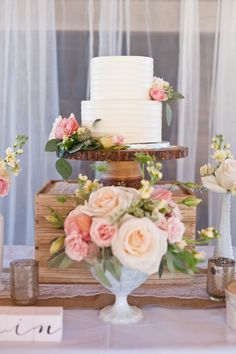 Cake Display from a Rustic Floral 1st Birthday Party via Kara's Party Ideas! KarasPartyIdeas.com (27)
