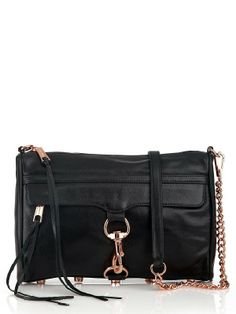 Rebecca Minkoff MAC Black Clutch with Rose Gold Hardware | I want this so badly!