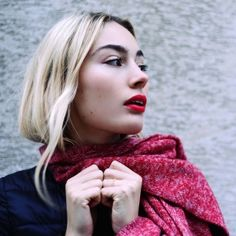 Echarpe tricot fil bi-color