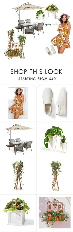 """SPRING  FLORALS"" by ashleyyjames ❤ liked on Polyvore featuring interior, interiors, interior design, home, home decor, interior decorating, Gap, Outdoor Oasis, Umbra and Grandin Road"