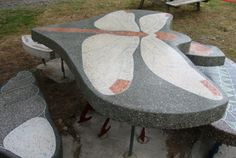 Gary Carpenter used terrazzo for the surface of his picnic table and benches at the Willapa National Wildlife Refuge. Photo by John Young.