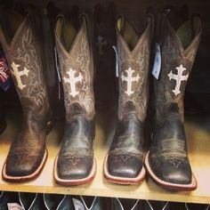 Tony lama boots! Gotta brown pair with pink Crosses!