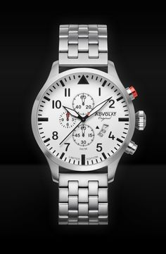 ADVOLAT FLIEGER 2, Stainless Steel Casing, Face white/black,Stainless Steel Bracelet, Ref. 86008/1-M3