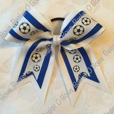 Small Glitter Soccer Hair Bow  Made To Order by BasketOBows