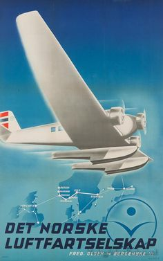 """Det Norske Luftfartselskap"", (1937), 'DNL' Norwegian Airlines -Illustration and Graphic by Harald Damsleth (b. 1906 - 1971, Norwegian)  ~  Original Vintage Airlines Poster."