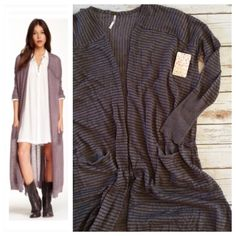 HP Free People Long Cardigan Free People Merci cardigan. Lightweight and super flowy cardigan in a pale lavender pinstripe. Best feature... POCKETS!! Gotta love it... brand new with tags. Free People Sweaters Cardigans
