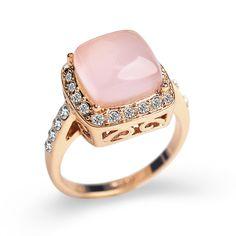 Kare düzenlendi Opal Taş alyans kadınlar Takı için CZ elmas yüzük kadın Gül Altın Kaplama AAA Avusturya Kristaller Anel S8
