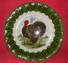 Vintage Thanksgiving Turkey Dinner Plate Mancioli Italy Platter