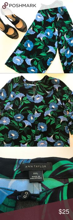 "Ann Taylor Floral Top Worn once. Perfect condition. 25"" across chest. 3/4 sleeves. Keyhole neckline. Ann Taylor Tops Blouses"