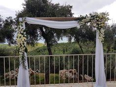 White Wedding Arch in a beautiful scenery!   #arch #arches #whiteflowers #weddingarch #flowerdesign #flowerdecoration #wedding #weddingceremony #corfu #αψιδα #στολισμοςγαμου #γαμος #κερκυρα #rizosgarden