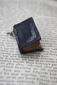 Tiny Black Leather Book Necklace