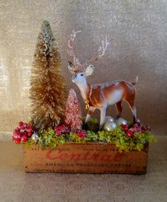Vintage Cheese Box Deer Arrangement, Bottle Brush Trees, Moss, Berries, Vintage Deer, Home Decor, Wedding Decorations, Glitter Bridal Shower by laughterandlemondrop on Etsy