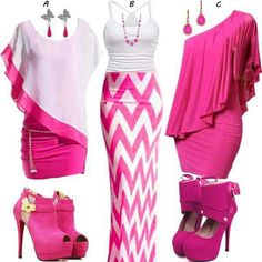 Think pink!minus the shoes I'd die Classy Outfits, Chic Outfits, Summer Outfits, Fashion Outfits, Fashion Trends, Fashion Moda, Pink Fashion, Love Fashion, Womens Fashion