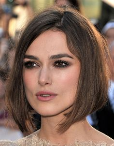 """The difference of length should be about an inch, so it's unnoticeable when you tuck your hair behind your ears,"" —Jen Atkin on THE ASYMMETRICAL BOB as seen on Keira Knightley Short Hairstyles For Thick Hair, Haircut For Thick Hair, Best Short Haircuts, Cool Haircuts, Short Hair Cuts, Bob Hairstyles, Short Hair Styles, Keira Knightley Hair, Keira Christina Knightley"