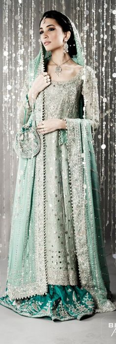 Magic Mint and Teal Embellished Flared Sweeping Lehenga Ensemble