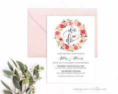 "Coral Floral Wreath Wedding Invitation Template, Printable Wedding invite, 5x7"" PDF fits Vistaprint, DIY Coral Wedding, Instant download"