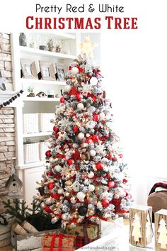 Welcome to my Holiday Home Tour! I'm sharing a pretty holiday home with loads of red and white, classic Christmas colours. I'm so happy to have you here. White Christmas Tree With Red, Real Christmas Tree, Christmas Colors, Red Christmas, Christmas Ideas, Christmas Tree Top Decorations, Flocked Christmas Trees Decorated, Christmas Tree Inspiration, Red Ornaments