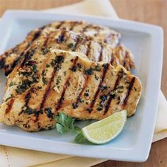 Lime cilantro chicken - used this for tacos, very good | Sunset magazine. Fresh cilantro, lime juice, honey, and garlic add zip to this simple, healthy grilled chicken main dish. Prep and Cook Time: 25 minutes, plus marinating time.