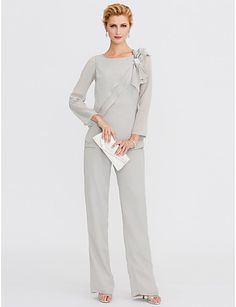 170.99  Jumpsuits   Pantsuit Jewel Neck Floor Length Chiffon Mother of  the Bride Dress with Crystals   Side Draping by LAN TING BRIDE® a291151b90b
