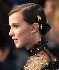 MTV VMAs 2017 Best Beauty Looks - Millie Bobby Brown's bun with gold hair pins