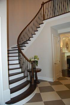 Staircase wood, iron white