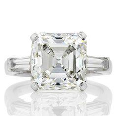 Five carats of stunning Asscher cut diamond engagement ring. View our collection of antique, Art Deco, and modern diamond rings at www.rutherford.com.au