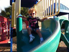 Tessa on the slide @ the park.