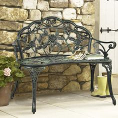 BCP Outdoor Patio Garden Bench Park Yard Furniture Cast Iron Antique Rose Design -- Find out more about the great product at the image link.