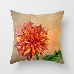 Dahlia for Fall Throw Pillow