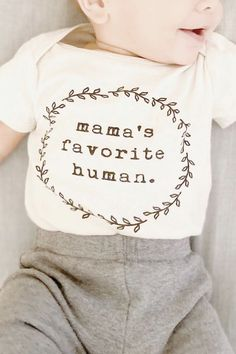 Show mom how much you love her in our mama's favorite human design! Our onesies are made of natural organic cotton right in the USA to provide a soft and comfortable feel. This piece is the perfect gender neutral bodysuit for every baby boy or girl. Baby Outfits, Kids Outfits, Toddler Outfits, Boy Onsies, Baby Onesie, Cute Baby Quotes, Baby Boy Or Girl, Organic Baby Clothes, Baby Kind
