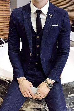Custom Made Slim Fit Plaid Groom Tuxedos Blue Colour Side Slit Best Man Suit Wedding Groomsman/Men Suits men wedding suits Dress Suits For Men, Men's Suits, Stylish Mens Fashion, Mens Fashion Suits, Terno Slim, Classy Suits, Style Masculin, Designer Suits For Men, Tuxedo For Men