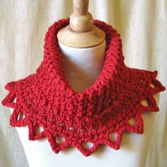 Knit Crochet Cowl Scarf Capelet  Chunky Red by KnittingGuru, $68.00