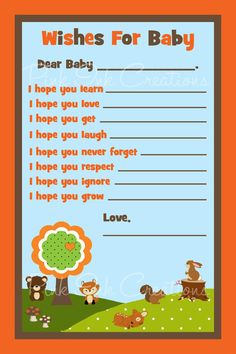 Forest Friends Woodland Baby Advice Wishes Baby Shower Card - PDF - You Print - INSTANT DOWNLOAD on Etsy, $6.00