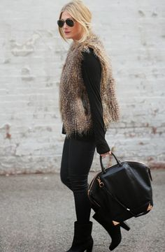 Cool Post: Inspiration: Fur Vest -  http://www.lecouture.de/2014/09/inspiration-fur-vest/