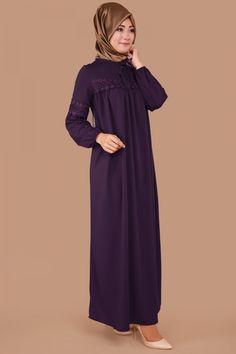 Yaka Bağcıklı Dantel Detay Elbise Mor Ürün kodu: MDP3017 --> 59.90 TL