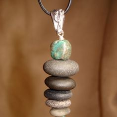 Lake Superior Stone Cairn pendant with a bit of turquoise #lighttheearth #stone #turquoise #rock #jewelry #cairn #stackedstone