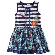 Navy Blue Striped Baby Girls Summer Dresses