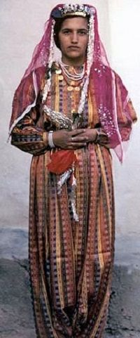 Traditional bridal costume from the central district of Karaman.  Mid 20th century.