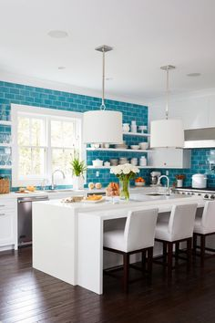 Coastal Living Hawaiian Blue Kitchen | Installation Gallery | Fireclay Tile
