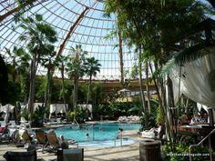 Harrah's, Atlantic City; glass domed pool area; interior shot