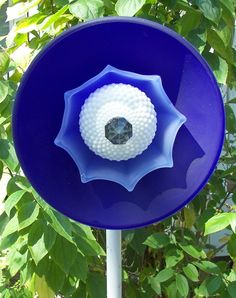 Blue Glass Flower - Upcycle