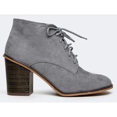 VARSITY-01 BOOTIE ($36) ❤ liked on Polyvore featuring shoes, boots, ankle booties, grey, grey ankle boots, gray boots, lace booties, oxford booties and grey ankle booties